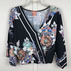 FLYING TOMATO Black Floral Crossover Crop Blouse